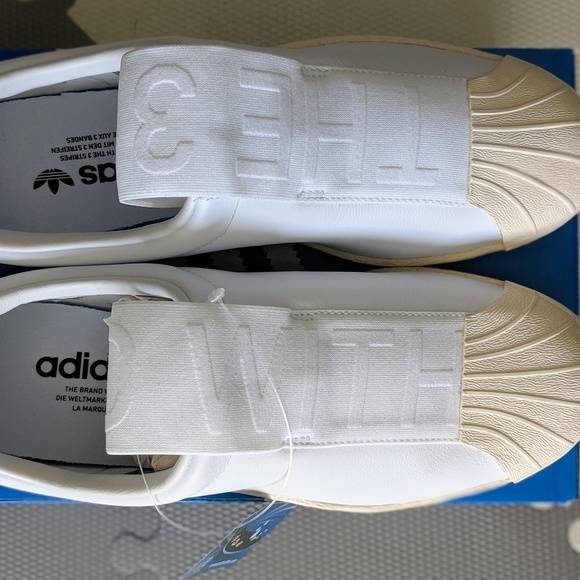 reputable site f6b90 8eb1c Adidas Superstar Slip On Leather 7.5 W BW3S BY9139 NWT